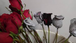 black and silver roses