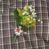Lego men attached to the boutonniere made a great keepsake for the men!